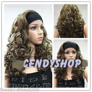 PRUIK lang krullend met haarband met kleurschakering (PL-E-T6-12TT26)