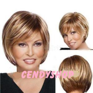 PRUIK Kort, blond/donkerblond/ros kleurschakeringen (PK-S208)
