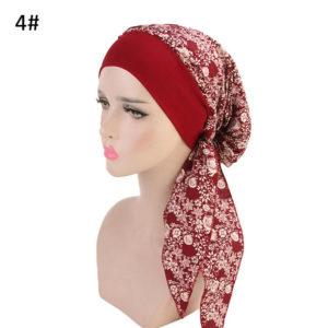 Fashion Hoofddoek rood gebloemd, Yoga of Chemo patiënt hoofdkapje