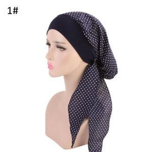 Fashion Hoofddoek donker blauw/wit ,Yoga, Chemo patiënt hoofdkapje.