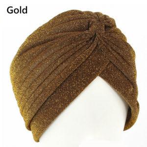 Fashion Hoofddoek goud kleur ,Turban, Yoga, Chemo patiënt