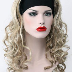 PRUIK met haarband Mixed kleur pruik lang krullend. (T6-H16-613)