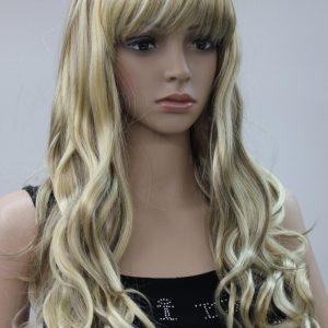 Pruik Lang donker blond met kleurschakeringen (L41-AB511)
