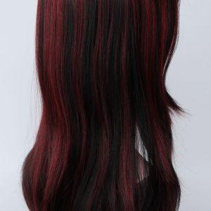 Pruik Lang Mixed kleur (zwart/wijn-rood) lang.(PL-L.FANLAN 1TT39)