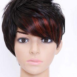Pruik Kort Trendy zwart met rode pluk (S70)