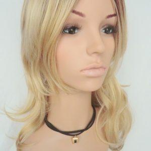 Pruik Lang donker blond golvend (G25-1047)