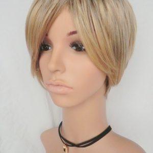 Pruik Kort donker blond (S606)