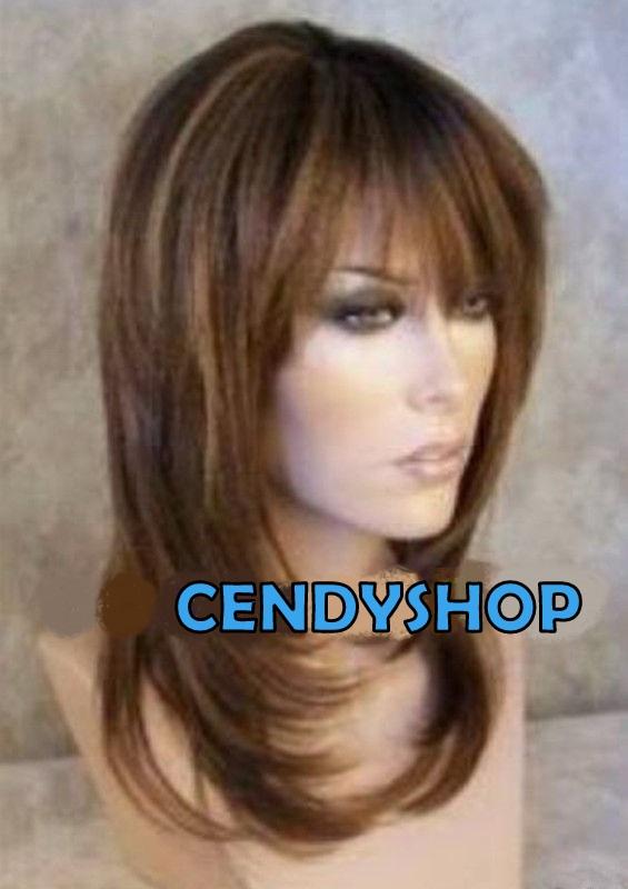 Lange Pruiken Echt Haar.Pruik Lang Multicolor Bruin Donker Blond M34