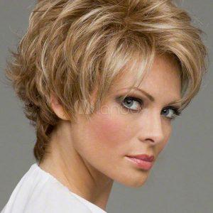 PRUIK Kort naturel blond, achterkant donker blond (S207)