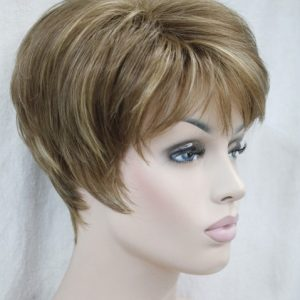 PRUIK Kort donker blond mixed kleuren (Ronic-V6)