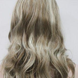 Pruik Lang Krullend onderaan, mixed kleuren blond+donker blond+licht bruin. (9011L-12tt26)