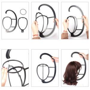 Handige pruiken hanger,  zwart