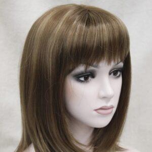 Pruik, half lang, Mixed kleuren bruin/donker blond meshed (L345-12TT124R)