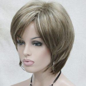 PRUIK kort, meshed mixed kleuren donker blond/Licht bruin
