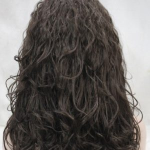 Kastanje bruine pruik licht krullend met hoofdband E-1367-6