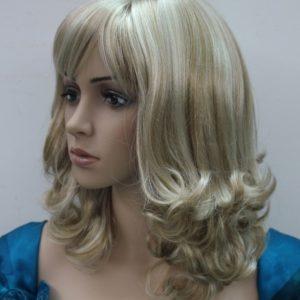 Pruik Half Lang (+-45cm) krullend donker blond meshed kleur (L421-16TT613)
