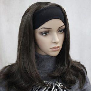 Pruik met hoofdband, Bruin +-45cm lang, met lichte golfslag (Monaca-6)