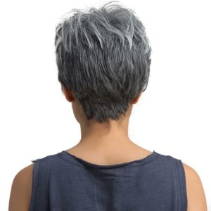 PRUIK Trendy en kort fris, zwart met as grijs.