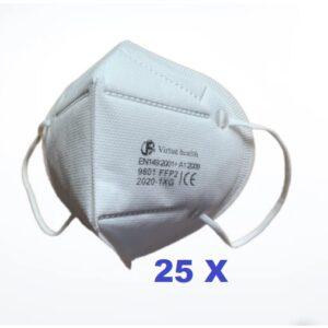 25 stuks FFP2 (KN95) Mondmasker pakket,  CE gekeurd certificaat, incl verzending.