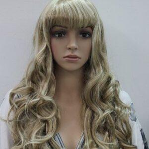Pruik Lang krullend 75cm, Mix kleuren donker blond/bruin