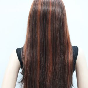Pruik mix kleur, bruine/rode tinten, 75cm, L-678-33H350