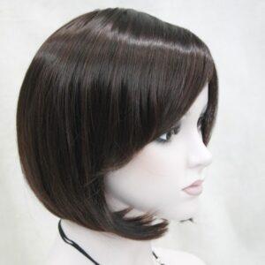 Pruik zwart kort, donker mix kleuren overwegend bruin kapsel, (E-9418-2T33)