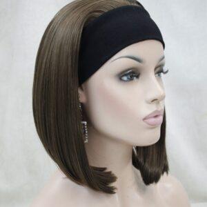 Pruik met rekbare hoofdband, Bruin +-45cm lang,