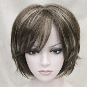 PRUIK kort, mix kleuren donker blond&donker bruin