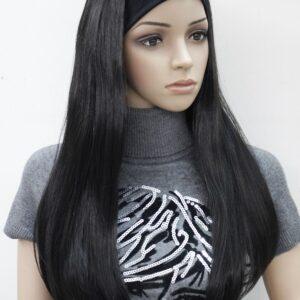 Pruik met rekbare hoofdband, lang 65cm, zwart