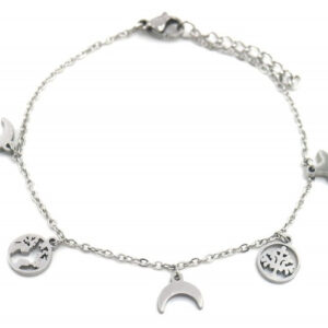 Bijoux armband Charms dames 7 mm RVS zilver