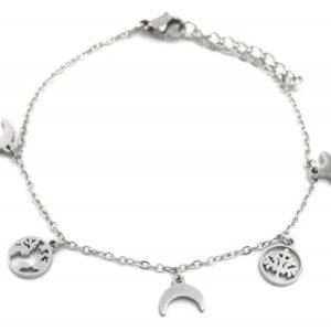 Bijoux armband Charms dames 7 mm RVS zilver