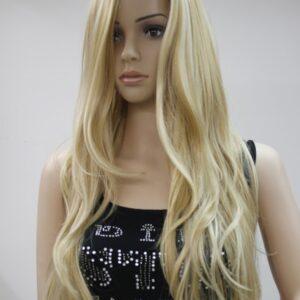 Pruik, lang golvend onderaan, blond met zeer lichte schakeringen naar donker blond.