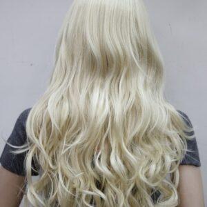 Pruik Lang (65-70cm) Krullend, blond, (E-233-613).