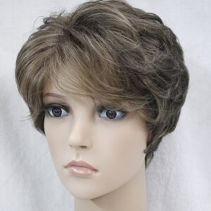 Pruik Kort, licht krullend, licht bruin meshed lichter bruin/donker blond (L3041-RM73)