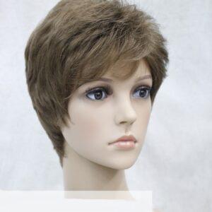 Pruik Kort donker blond/licht bruin