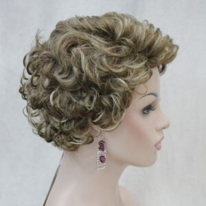 Pruik Kort Trendy mixed kleur Licht bruin/blond meshed krullend. (E-9636-L12-26)