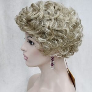 Pruik Kort Trendy blond krullend. (E-9636-L16-613)