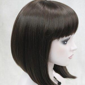 Pruik, Half lang, stijl BOB, donker bruin. (E-9606-6)