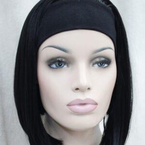 Pruik met hoofdband/haarband, Half lang, Zwart
