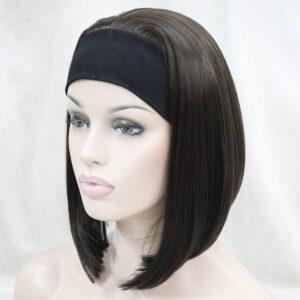 Pruik met hoofdband/haarband, Half lang, donker bruin