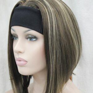 Pruik met hoofdband/haarband, Half lang,mixed kleur (bruin meshed)
