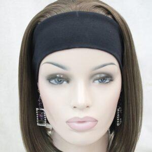 Pruik met hoofdband/haarband, Half lang, bruin