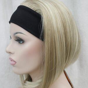 Pruik met hoofdband/haarband, Half lang, donker blond meshed