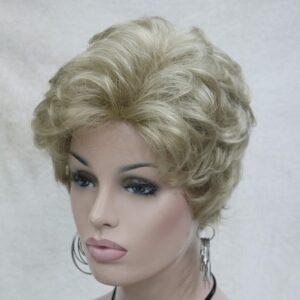 Pruik Kort, mix donker blond krullend