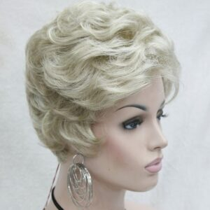 Pruik Kort, mix donker blond/blond, krullend