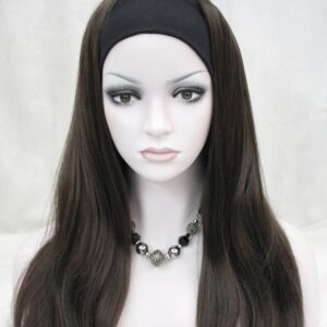 Pruik met rekbare hoofdband, lang 45a50cm, Donker bruin (E-679B-6)
