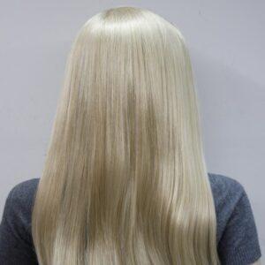 Pruik met rekbare hoofdband, lang 45cm, mixed kleuren licht&donker blond