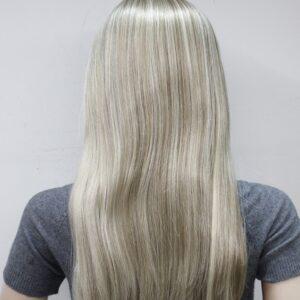 Pruik met rekbare hoofdband, lang 65cm, mixed kleuren licht bruin/blond