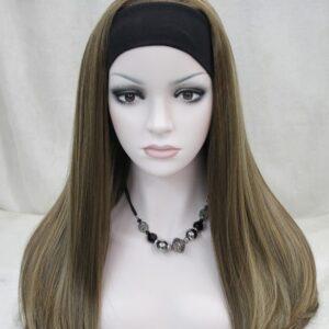 Pruik met rekbare hoofdband, lang 45cm, licht bruin/donker blond mixed meshed kleuren