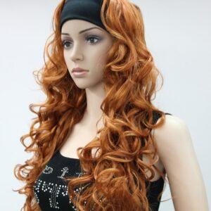 Pruik met haarband, Lang (65-70cm) Krullend, Rood – ros, (E-9426-130A)